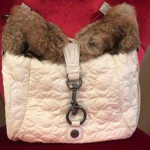 COACH Fur Trimmed Hobo